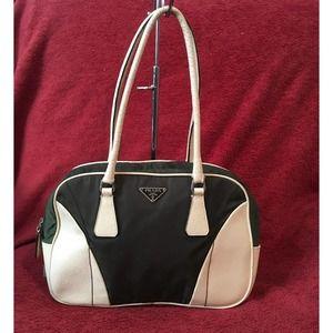 Prada Olive Nylon Leather Stachel shoulder handbag